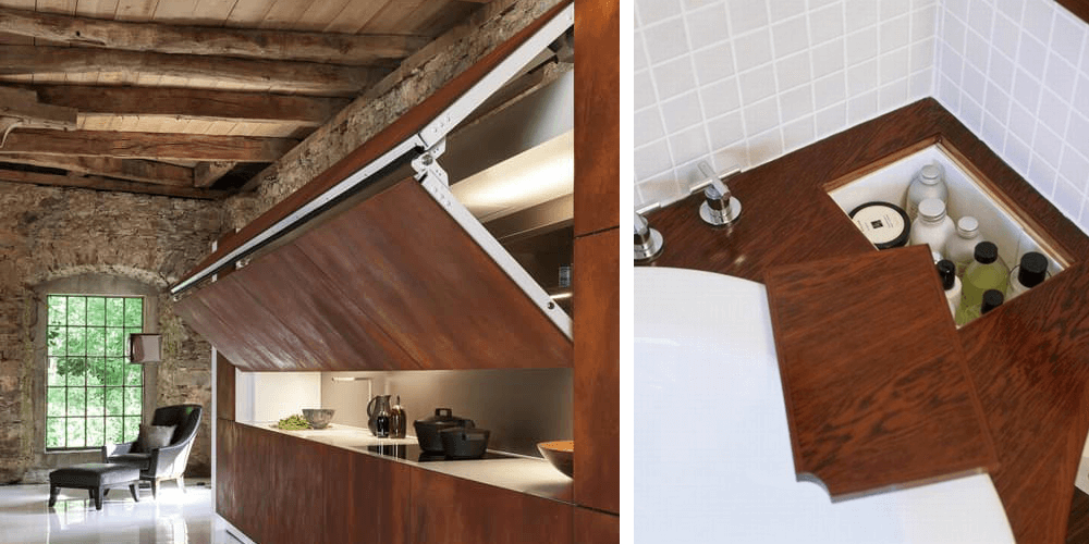 A fold-up wall completely hides the service area in the kitchen.