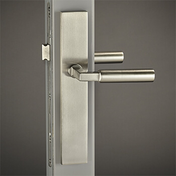 Brass Hauhaus Lever with City Backplate in Satin Nickel