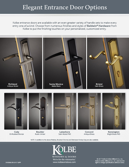 Download Baldwin Swinging Door Handle Sets sell sheet