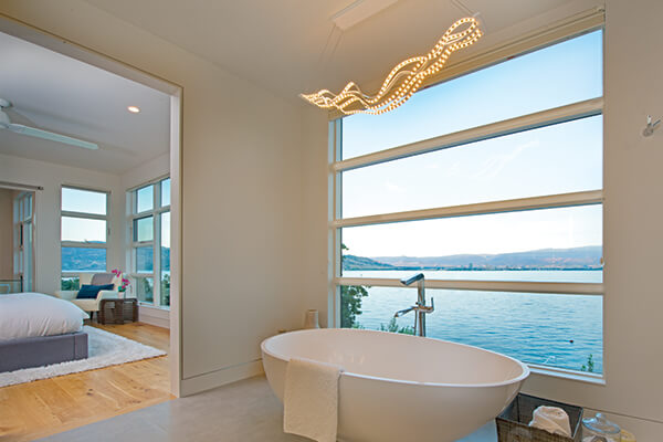 Kelowna BC VistaLuxe Collection interior bathroom lake view