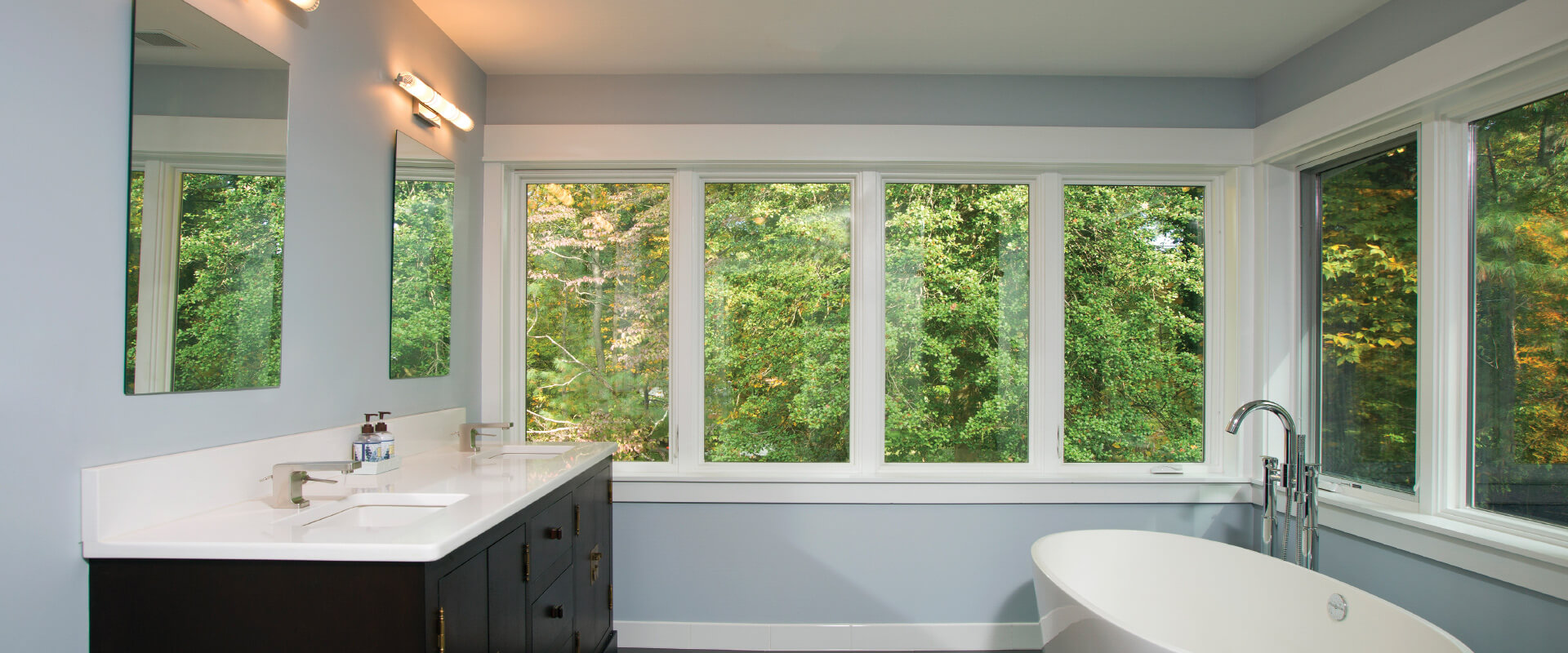 Forgent Series crank-out casements with a Cloud interior color that is integral to the Glastra material.