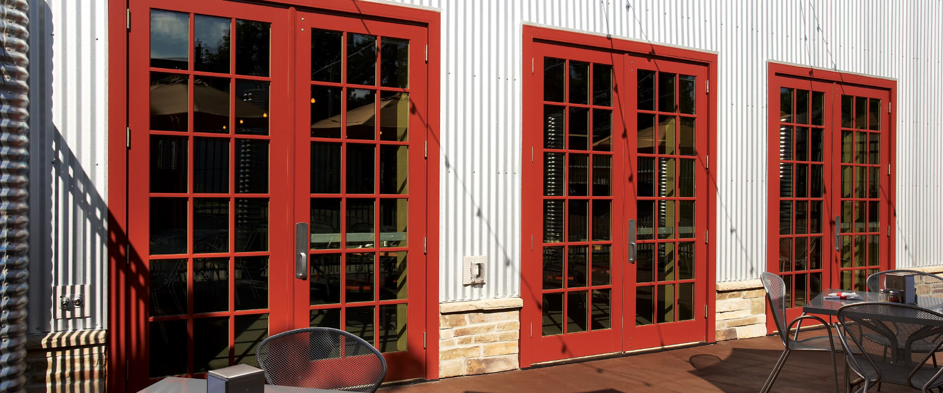 Ultra Series commercial doors in a restaurant.