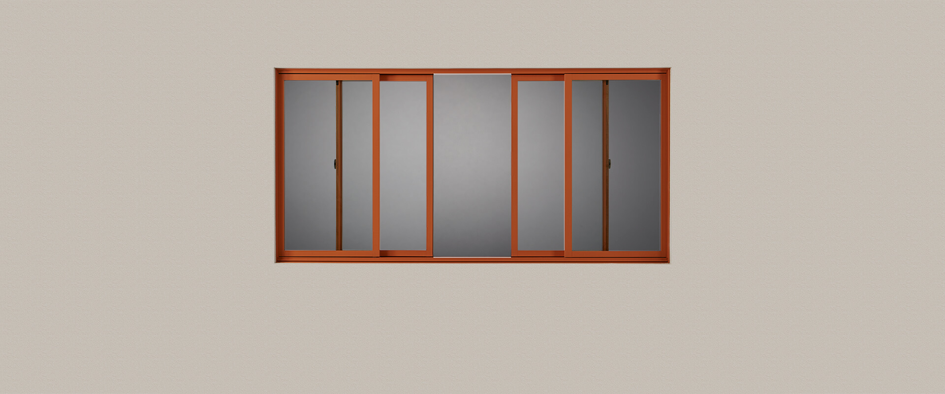 VistaLuxe Complementary quad sliding window with Pumpkin Spice exterior finish.