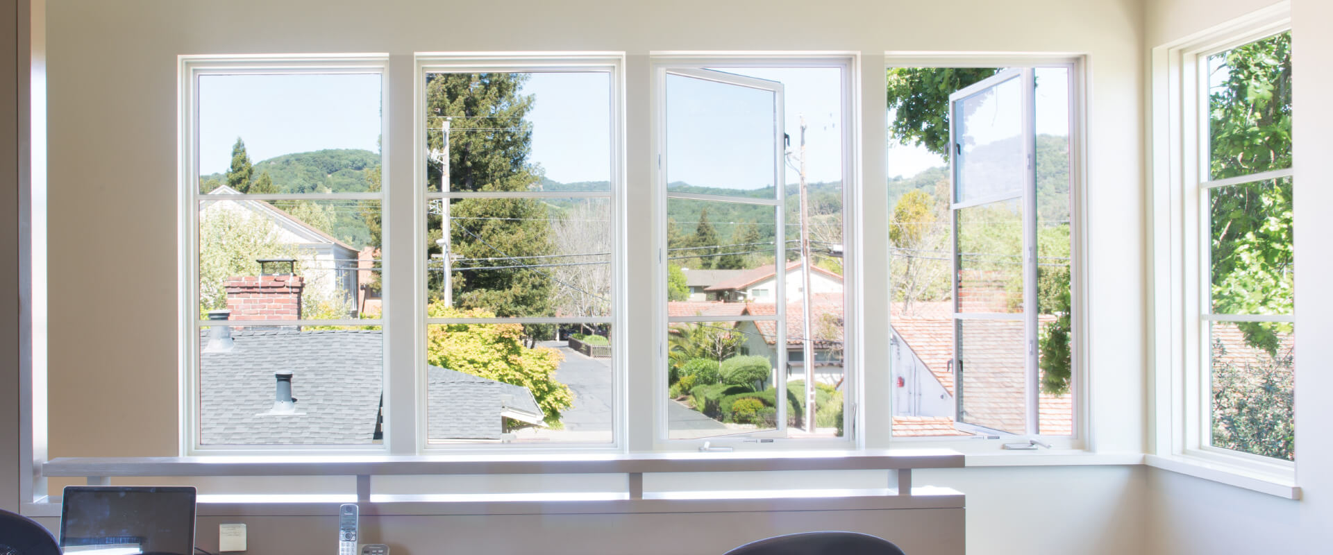 VistaLuxe Collection casement windows cranked open.