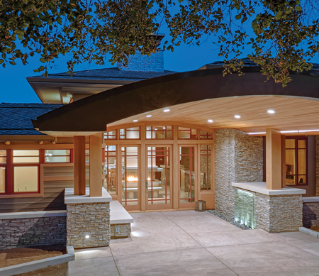 Ultra Inswing Entrance Door with Sidelites Casement Crank-Out Awning Corner Direct Set Radius Windows Exterior Evening