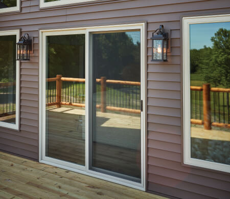Forgent Series sliding patio door with a Cloud exterior color that is integral to the Glastra material.