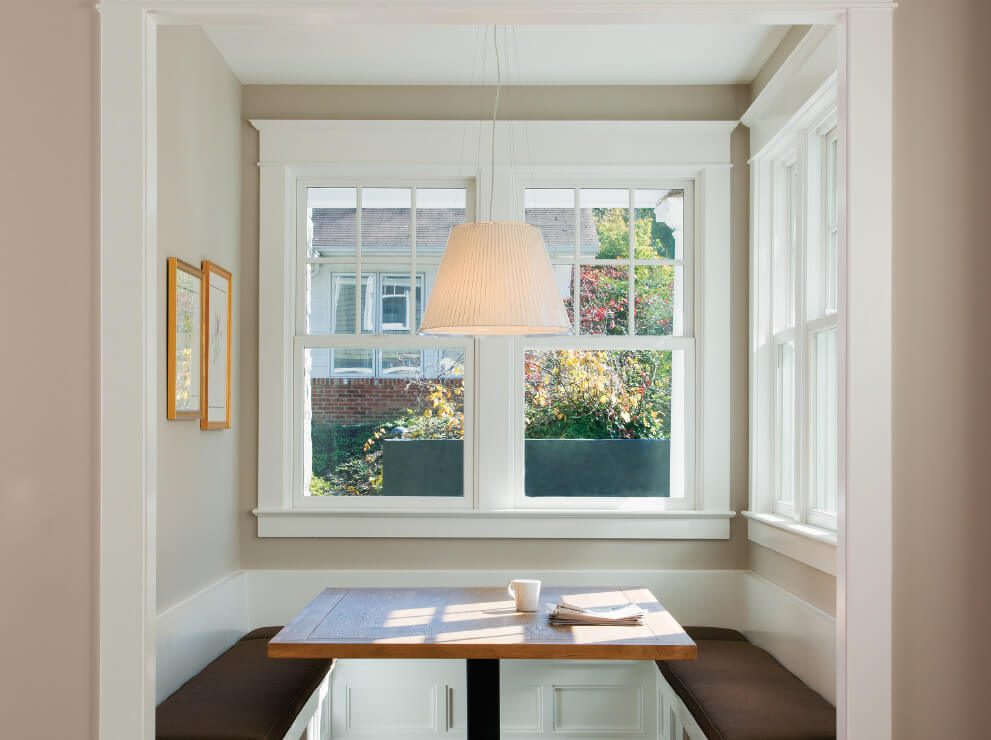 Heritage Series two-wide Sterling double hung windows with divided lites in the top sash.