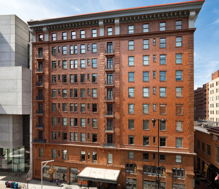Ultra Series Majesta double hung windows in a multi-story hotel.