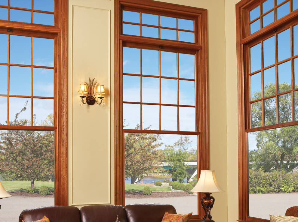 Majesta double hung windows with transoms.