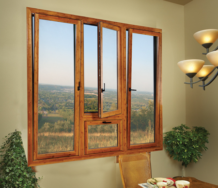 Ultra Series tilt-turn window with Knotty Pine interior.