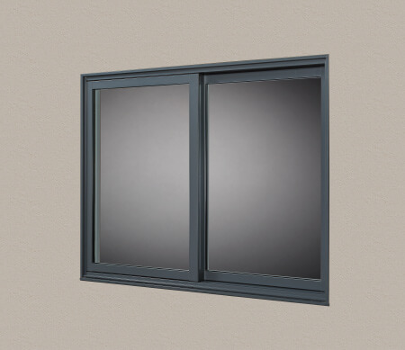 VistaLuxe Complementary double sliding window with Slate exterior finish.