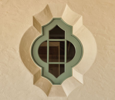 Ultra Series custom radius window with Green Tea Leaf exterior finish.