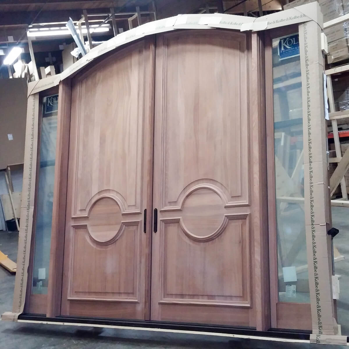 CS61 Sapele Doors with Custom Raised Panels Exterior